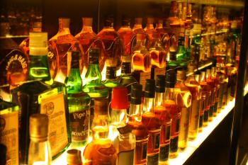 display rack of whisky bottles