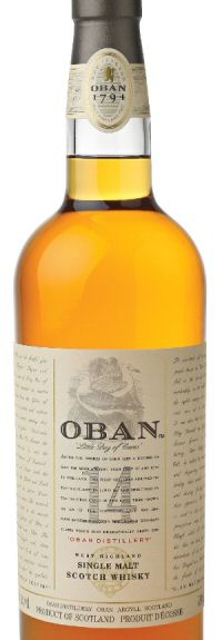 Oban 14 whisky bottle